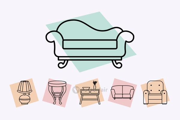couch and furniture icon set, line style