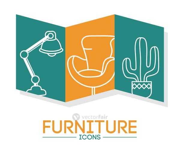 desk lamp and furniture icons, line style