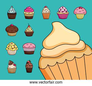 colorful cupcakes icon set design