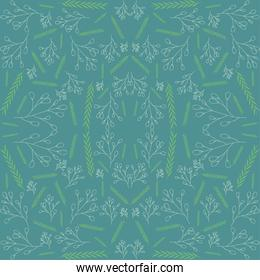 decorative leaves and branches seamless pattern, colorful design