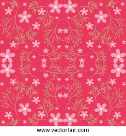 pink flowers and green leaves seamless pattern