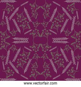 colorful decorative leaves and branches seamless pattern
