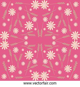 flowers and leaves pink seamless pattern