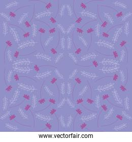 branches and flowers purple seamless pattern, colorful design