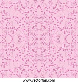pink flowers branches seamless pattern, colorful design