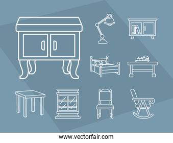 tables and furniture icon set, line style