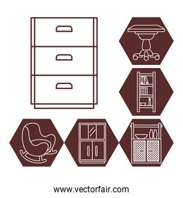 book cabinet and furniture icon set, line style