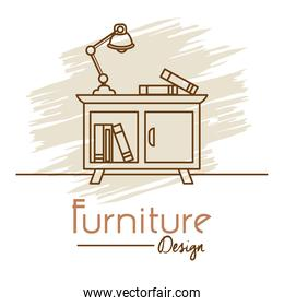furniture design with desk lamp and books, line style