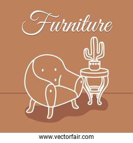 furniture design with armchair and coffee table with cactus in a pot, line style