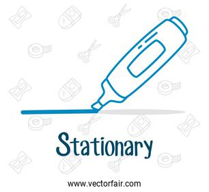 stationary design with highlighter icon, line doodle style