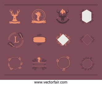 set of badges templates with, vintage style emblems