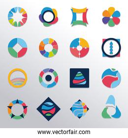 collection of signs templates of colors, abstract creative symbols