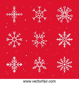 set snowflakes icons on red background, christmas and winter concept