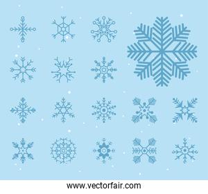 set snowflakes icons on blue background, christmas and winter concept