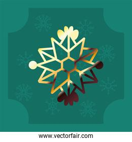 snowflake of golden line, christmas and winter concep