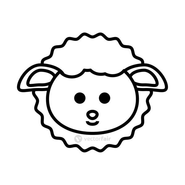 cute little sheep animal line style icon