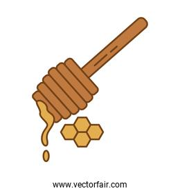 sweet honey with wooden stick fill style icon