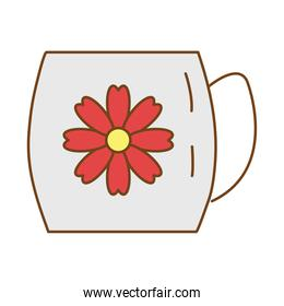 tea in ceramic cup with flower fill style icon