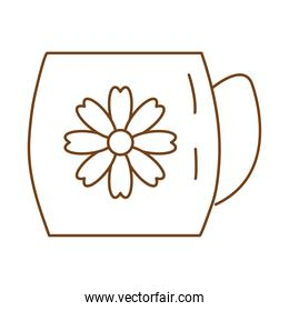 tea in ceramic cup with flower line style icon