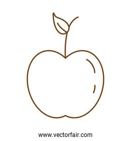 apple fresh fruit and leaf  line style icon