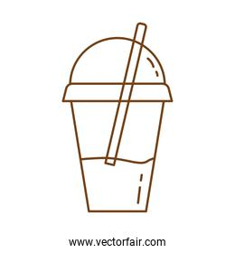 iced tea in pot with straw line style icon