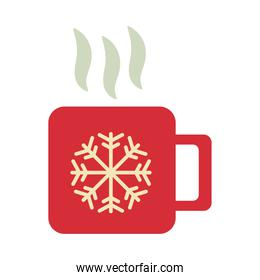 happy merry christmas cup with snowflake flat style icon