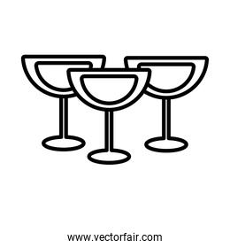 wine cups drink line style icon