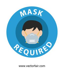 mask required circular advertise label with head man using mask