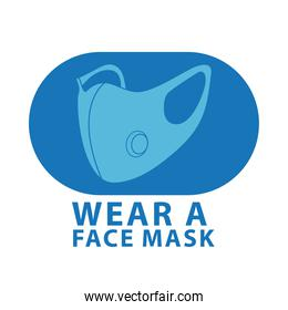 wear mask blue advertise label isolated icon