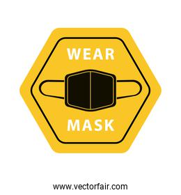 wear mask advertise label yellow isolated icon
