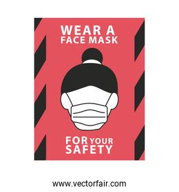 wear face mask for your safety red label