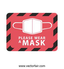 please wear mask red square advetise label