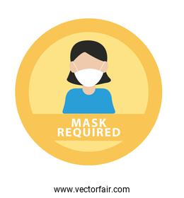 mask required advertise label with woman wearing mask