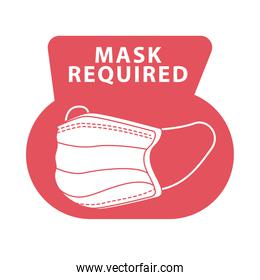 mask required red color advertise label