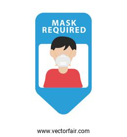 mask required blue advertise label with man wearing mask