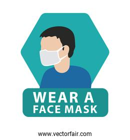 man wearing mask advertise label isolated icon