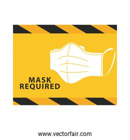 mask required yellow advertise label