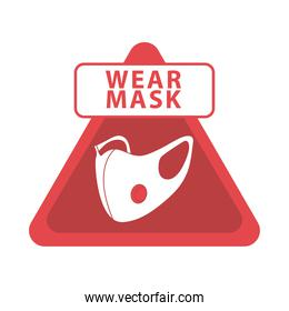wear mask red triangle advertise label