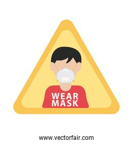 man wearing mask in triangle advertise label