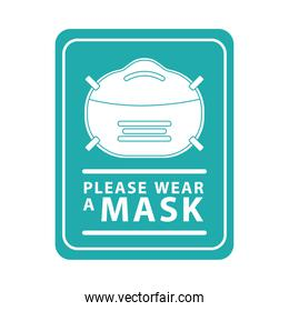 please wear mask green square advetise label