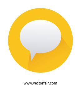 speech bubble in yellow circle isolated icon