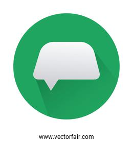 speech bubble in green circle isolated icon