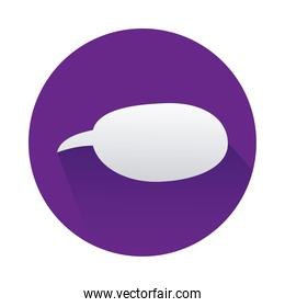 speech bubble in circle purple isolated icon