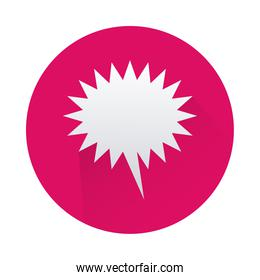 speech bubble in pink circle isolated icon