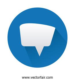 speech bubble in circle blue isolated icon