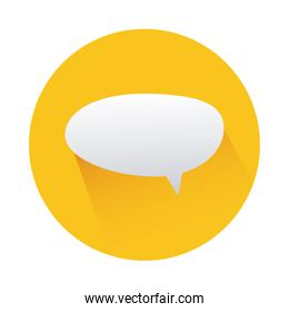 speech bubble in circle yellow isolated icon