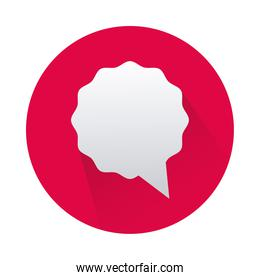 speech bubble in red circle isolated icon