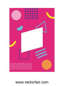 pink color memphis style background with figures geometric