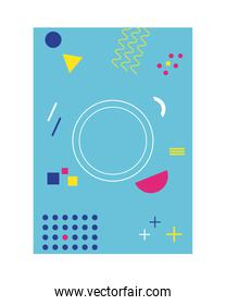 light blue color memphis style background with circle figures