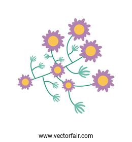 purple flowers garden flat element